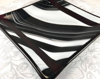 Square Glass Plate, red black and white swirled  glass plate, sushi plate, candle plate, dessert plate, glassware, appetizer plate, slumped