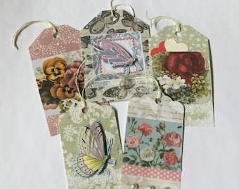 Vintage theme gift tags, pretty handmade tags, floral tags, present tags, pretty tags, elegant tags, set of 5