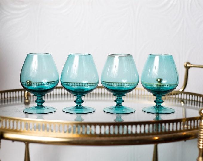 4 Aqua Blue Bar Glasses - 8oz Small Vintage Tulip Shaped Stemware - Retro Madmen Barware / Glassware
