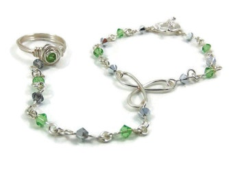 August Birthstone Slave Bracelet Ring Attached Peridot Green & Silver Swarovski Crystals