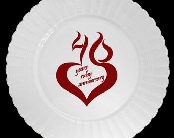 40th Anniversary Mod PLASTIC Dinner Plates, 8/pkg, Party supplies