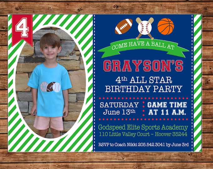 Boy or Girl Photo Invitation Football Baseball Basketball Birthday Party - Can personalize colors /wording - Printable File or Printed Cards