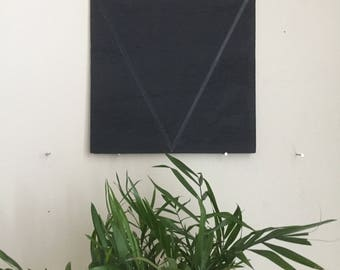 "Black Triangle 001, 8""x8"" painting on oak plywood"