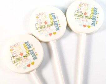 "6 Baby ""Boy"" Shower Chocolate Lollipops"