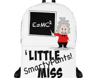 Little Miss Backpack. Little Miss Smarty Pants Kids Backpack, Albert Einstein Backpack, Bach to School Gift, First Day of Preschool Gift