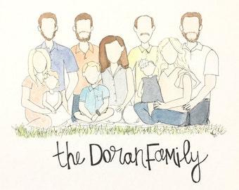Watercolor Family Portraits