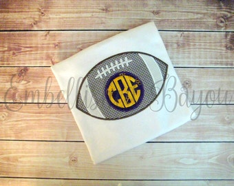 Football with Monogram Personalized Appliqued T-shirt for Boys, LSU or any team theme