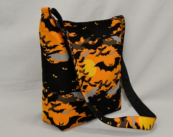 Large Fabric Canvas Crossbody Bag Halloween Bats in an Orange Night Sky and Full Moon
