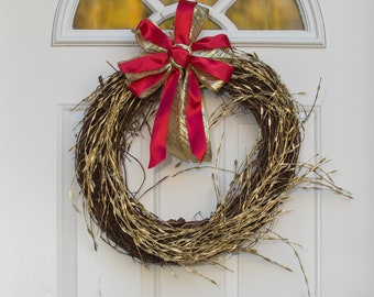 Gold Wreath, Red and Gold Wreath, Christmas Holiday Wreath, Christmas Decor