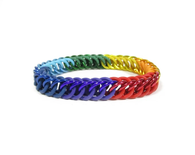 Rainbow Stretchy Chainmaille Bracelet - Half-Persian 4-in-1 - Reserved for simisspaces