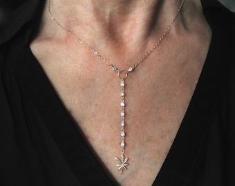 Cannabis cz Y necklace - marijuana cz lariat  - cz weed Ynecklace - cz leaf necklace- weed necklace - gold-rose gold- silver - oxidized