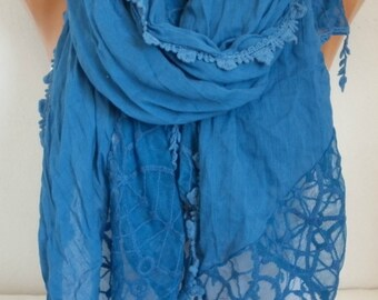 Pale Blue Cotton Lace Scarf,Wedding Shawl Scarf,Spring Summer Scarf, Oversized Pareo,Mother's day Gift,Women's Fashion Accessories