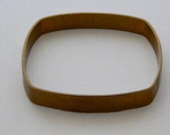 Flat Square Brass Bangle Bracelet