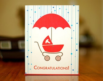 Shower Power - Mod Stroller Baby Shower Card in Red, Blue, or Pink on 100% Recycled Paper