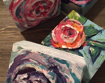 Floral Woodblock Original Painting with Texture