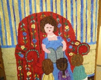 Read me a Story(grandma) rug hooking pattern on primitive linen