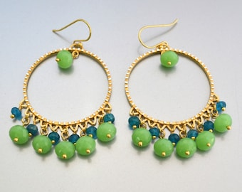 Statement Circle Earrings / Apatite / Chrysoprase / Genuine 24k Gold Over Sterling Silver / Blue and Green