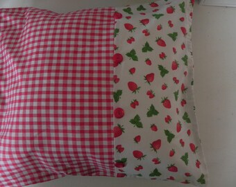 Red gingham pillow cover and strawberry fabric