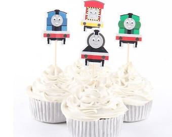 READY To SHIP Thomas the train Inspired Cupcake Toppers, Toppers, Picks, Cake Toppers, Cake Topper Pick, Cupcake Picks, Birthday