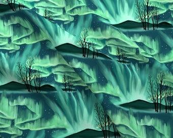 Green Aurora Borealis Fabric - Aurora Borealis By Vinpauld - Watercolor Aurora Borealis Cotton Fabric By The Yard With Spoonflower