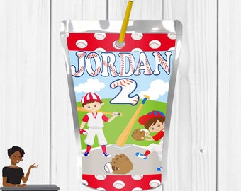 Baseball Party, Baseball Juice Label, Baseball, Softball, Baseball Party Favors, Sports, Digital or Printed and Shipped