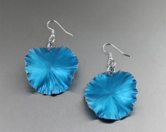 Blue Anodized Aluminum Lily Pad Earrings - Blue Leaf Earrings -  Blue Drop Earrings - Makes a Cool 10th Wedding Anniversary Gift!