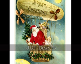 Instant Digital Download, Vintage Antique Fantasy Graphic, Santa Claus in Blimp, Christmas Printable Image, Toys Holly, Airship, Zeppelin