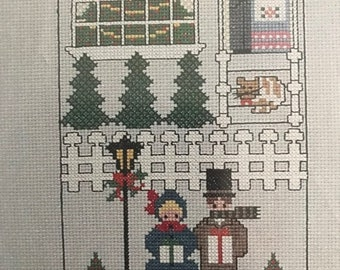 APRILSALE Vintage Astor Place counted cross stitch design chart Victorian House Christmas