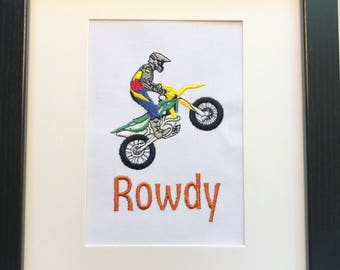 FRAMED Wall Picture - DIRT BIKE Motorcycle - Personalized - Customized - Shipping Flat Fee 10 Dollars - Even for Multiple Framed Orders
