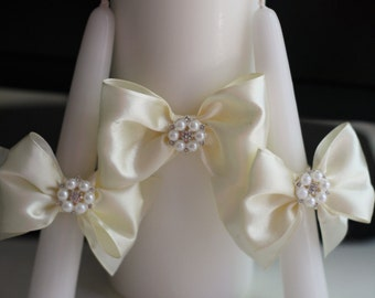 Ivory Unity Candles, Pillar and Stick Wedding Candle, Handmade Bow Unity Candle,  Candles with Ribbon Bow and Brooch