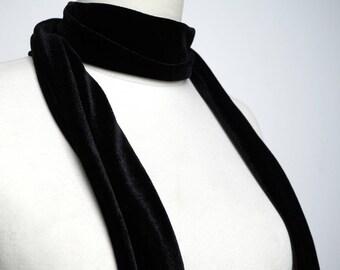 Skinny Scarf Velvet, Scarf Headband, Black Velvet Skinny Scarf, Women's Skinny Scarf, Necktie, Neck Scarf, Headband, Turban