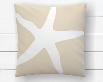 Starfish Pillow, Beach Nursery, Beach House Pillow, Sea Star, Under The Sea, Nautical Pillows, Throw Pillow Covers, Ocean Themed Decor
