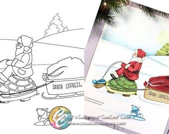 printable coloring page - santa express