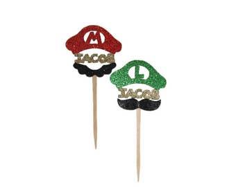 Mario super mario bros super mario party mario cupcake topper luigi cupcake topper mario and luigi mario kart cupcake toppers boys party