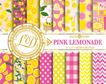 Pink Lemonade Paper Pack, Picnic Paper, chevron, polka dots, stripes, yellow, Lemon Scrapbook Paper and Backgrounds Commercial-Personal Use