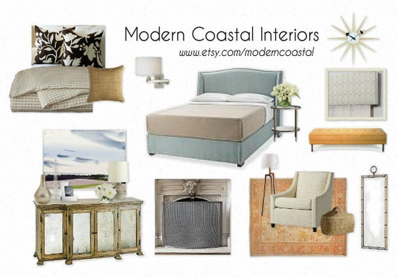 Custom Styleboard Moodboard Coastal Bedroom Example