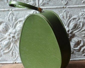 Vintage 1960's Egg Shaped Olive Green Train Case