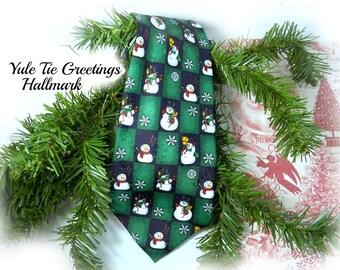 snowman tie - Green Christmas tie -  Holiday tie - Christmas Party tie  -Christmas accessories --   # 35