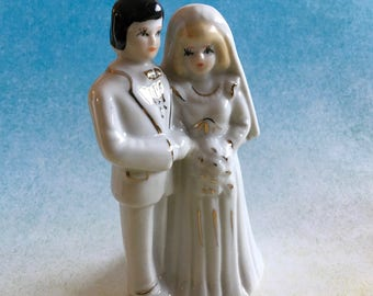 Vintage bride and groom wedding figurine made in Japan - both in white