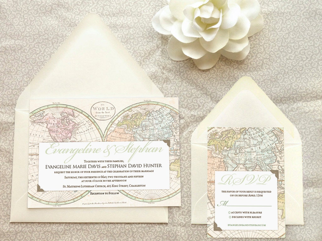 Old World Map Travel Printable Wedding Invitations