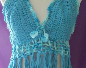 Crochet Halter Tank -- Top Fringes -- Bikini Top (Special Sale) - ONLY 15.00