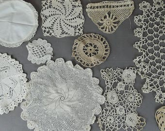 10 Vintage Crochet Doily Lace Pieces Handmade Linens, pre 1940s Home or Clothing Decor  Lot