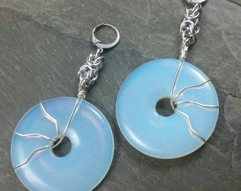Decorative Ear Weights - Glass Donuts - Glass Earrings for Stretched Lobes - Opalite Weights - Earrings for Tunnels