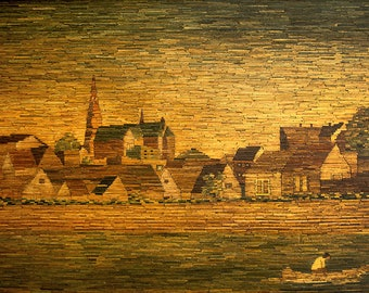 Old Town on river - Vintage painting of matches techniques - Hand made wall art Old