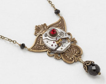 Steampunk Necklace Silver Waltham Watch with Gears Vintage Black Crystal Beads, Ruby Red Stone on Gold Filigree Statement Jewelry Gift 3020