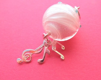 Treble clef and music note sterling dangle pendant with amazing Magma Glass dichro. bead