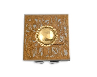 Bejeweled Metal Pill Box Inlaid in Hand Painted Enamel Gold Swirl Design Square Case with Personalized Options Available