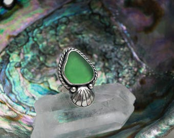 Sea Potion Ring | Green Sea Glass Ring | Sterling Silver Ring Size 6 | Mermaid Jewelry | Seashell Ring | Mermaid Ring | Beach Glass Ring