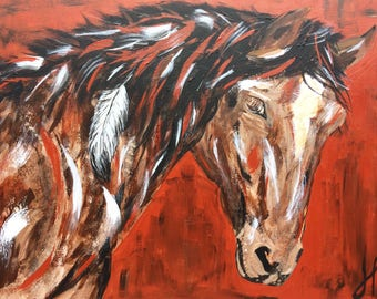 BELINDA, horse , cheval, ranch, red, original , painting , modern, moderne, toile, cowboy, far west, décoration , deco, interior design ,