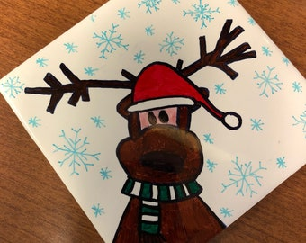 Reindeer Christmas Coasters Handpainted- set of 4